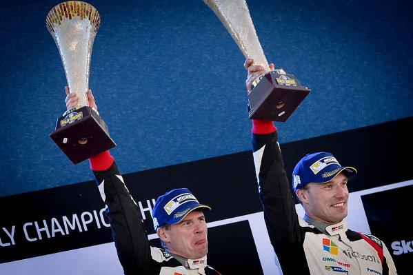 Rally winners Jari-Matti Latvala (FIN) / Miikka Anttila (FIN), Toyota Gazoo Racing WRC celebrate on the podium with the champagne at World Rally Championship, Rd2, Rally Sweden, Day Three, Karlstad, Sweden, 12 February 2017.