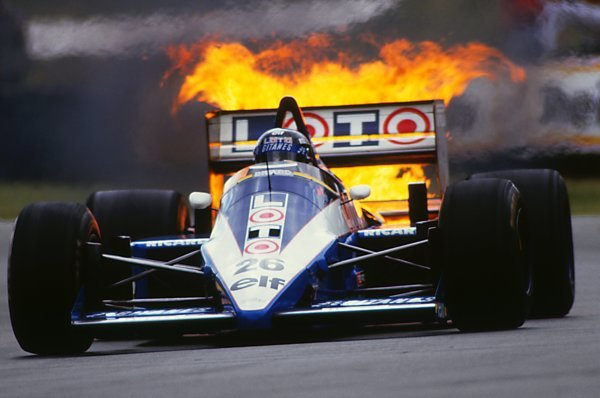 Jacques Laffite (FRA) suffered turbo problems in his Ligier JS27. British Grand Prix, Brands Hatch, England, 13th July 1986
