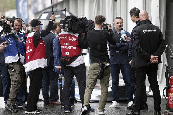 Footballer Wayne Rooney speaks to the media
