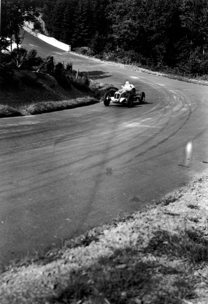 Nurburgring, Germany. 24th July 1938.  Paul Pietsch (Maserati 6CM), 6th position.  Ref: RF38_GER_38. World Copyright: Robert Fellowes/LAT Photographic