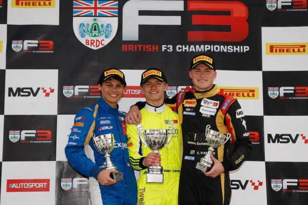 2017 BRDC British Formula 3 Championship, Snetterton, 27th-28th May 2017, Podium, Jordan Cane (GBR) Douglas Racing BRDC F3 wins World copyright. JEP/LAT Images