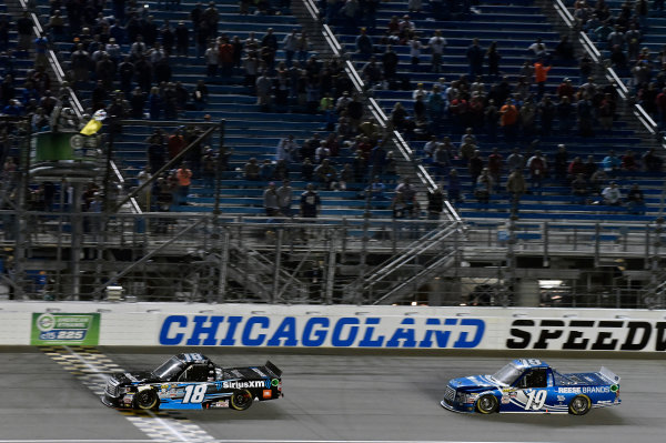 15-16 September, 2016, Joliet, Illinois USA Kyle Busch takes the checkered flag and the win  ? 2016, Nigel Kinrade LAT Photo USA