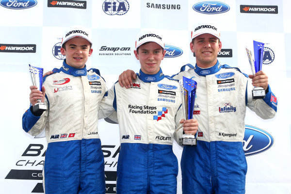 2016 British Formula 4 Championship, Knockhill, Scotland. 12th - 14th August 2016. Race 3 Rookie Podium (l-r) Jack Martin (GBR) TRS Arden Ford British F4, Alex Quinn (GBR) Fortec Ford British F4, Nicolai Kjaergaard (DK) Fortec Motorsports Ford British F4. World Copyright: Ebrey / LAT Photographic.