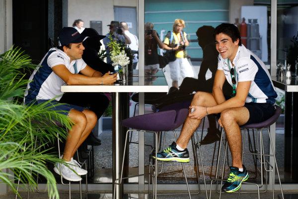 Yas Marina Circuit, Abu Dhabi, United Arab Emirates. Thursday 24 November 2016. Felipe Massa, Williams Martini Racing, with Lance Stroll, Williams F1. World Copyright: Steven Tee/LAT Photographic ref: Digital Image _O3I1619