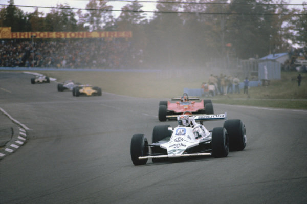 1980 United States Grand Prix East.  Watkins Glen, New York, USA. 3-5th October 1980.   Alan Jones, Williams FW07B Ford, 1st position, leads Gilles Villeneuve, Ferrari 312T5.  Ref: 80USA02. World Copyright: LAT Photographic
