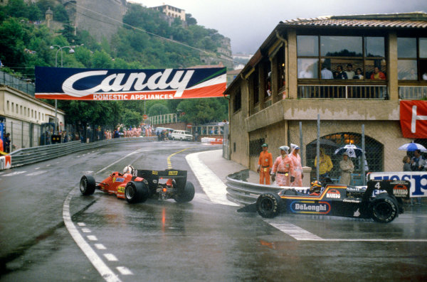 Monte Carlo, Monaco.31/5-3/6 1984.Stefan Bellof, Tyrrell 012-Ford, 3rd position, at Casino. He would lose his position at the end of the season, after the Tyrrell team was disqualified from the World Championship due to fuel irregularities.Ref-84 MON 27.World Copyright - LAT Photographic
