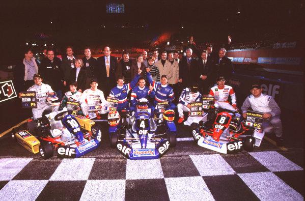 2000 Elf Masters Karting Bercy Paris, France. 10th December 2000. Winners line up. World Copyright: Chris Dixon/LAT Photographic