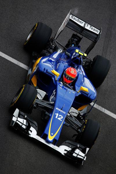 Sochi Autodrom, Sochi, Russia. Friday 9 October 2015. Felipe Nasr, Sauber C34 Ferrari. World Copyright: Charles Coates/LAT Photographic ref: Digital Image _J5R9973
