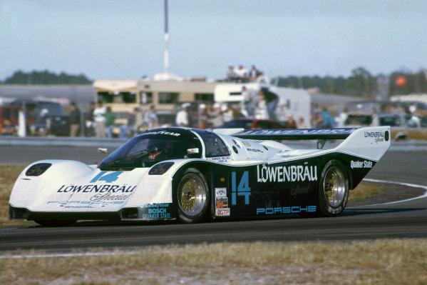 Daytona 24 Hours, Florida, USA. 31st January - 1st February 1987.Chip Robinson/Derek Bell/Al Unser, Jr. (Porsche 962), 1st position, action. World Copyright: LAT Photographic.Ref:  87IMSA DAY02.