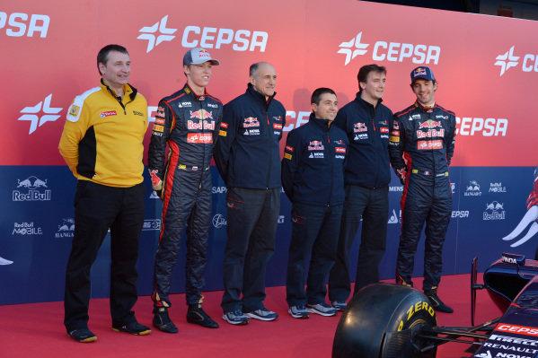 (L to R): Daniil Kvyat (RUS) Scuderia Toro Rosso; Franz Tost (AUT) Scuderia Toro Rosso Team Principal; Luca Furbotta (ITA) Scuderia Toro Rosso Chief Designer; James Key (GBR) Scuderia Toro Rosso Technical Director and Jean-Eric Vergne (FRA) Scuderia Toro Rosso. Scuderia Toro Rosso STR9 Launch, Jerez, Spain, Monday 27 January 2014.