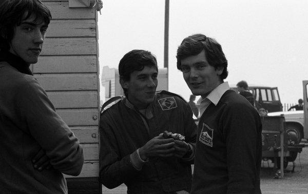 (L to R): Race winner Ayrton Senna (BRA) Rushen Green Racing and Jonathan Palmer (GBR). British Formula Ford 2000 Championship, 28 March, Silverstone, England, 1982.