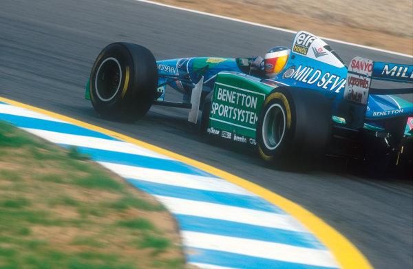 Jerez, Spain.14-16 October 1994.Michael Schumacher (Benetton B194 Ford) 1st position.Ref-94 EUR 11.World Copyright - LAT Photographic
