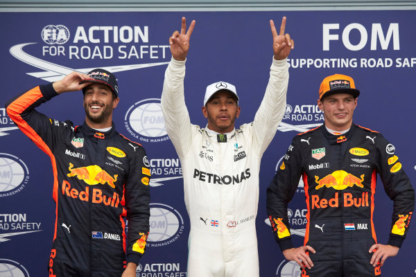 Autodromo Nazionale di Monza, Italy. Saturday 2 September 2017. Top three Qualifiers, Lewis Hamilton, Mercedes AMG, celebrating a record breaking 69th F1 pole, Max Verstappen, Red Bull, and Daniel Ricciardo, Red Bull Racing. World Copyright: Steve Etherington/LAT Images  ref: Digital Image SNE15087