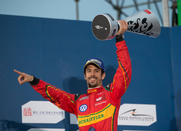 FIA Formula E Championship 2015/16. Beijing ePrix, Beijing, China. Race Lucas Di Grassi, ABT SCHAEFFLER AUDI SPORT, on the podium Beijing, China, Asia. Saturday 24 October 2015 Photo:  / LAT / FE ref: Digital Image _L2_4340