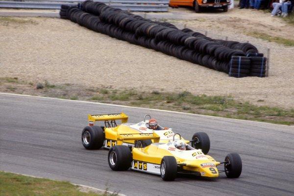 1982 Dutch Grand Prix.Zandvoort, Holland. 3 July 1982.Manfred Winkelhock, ATS D5-Ford, 12th position, leads Eliseo Salazar, ATS D5-Ford, 13th position, action.World Copyright: LAT PhotographicRef: 35mm transparency 82HOL