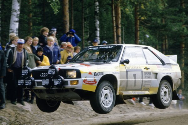 1984 World Rally Championship.1000 Lakes Rally, Finland. 26-28 August 1984.Hannu Mikkola/Arne Hertz (Audi Sport Quattro), retired.World Copyright: LAT PhotographicRef: 35mm transparency 84RALLY16