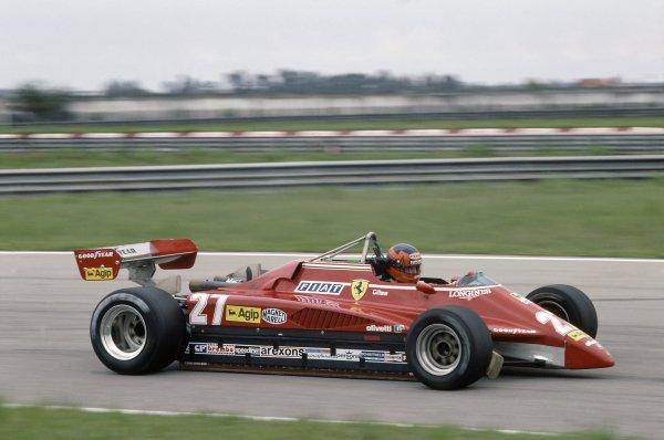 1982 Brazilian Grand Prix.Rio de Janeiro, Brazil. 19-21 March 1982.Gilles Villeneuve (Ferrari 126C2), retired.World Copyright: LAT PhotographicRef: 35mm transparency 82BRA30