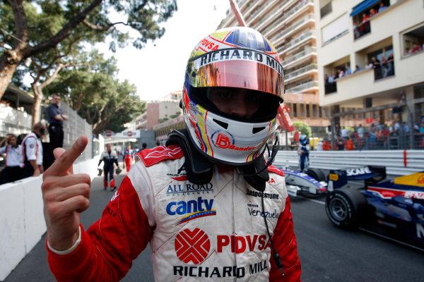 Saturday Race. 23rd May 2009. Pastor Maldonado (VEN, ART Grand Prix) celebrates his victory. World Copyright: Alastair Staley / GP2 Series Media Service.Ref: _H3A5483 jpg
