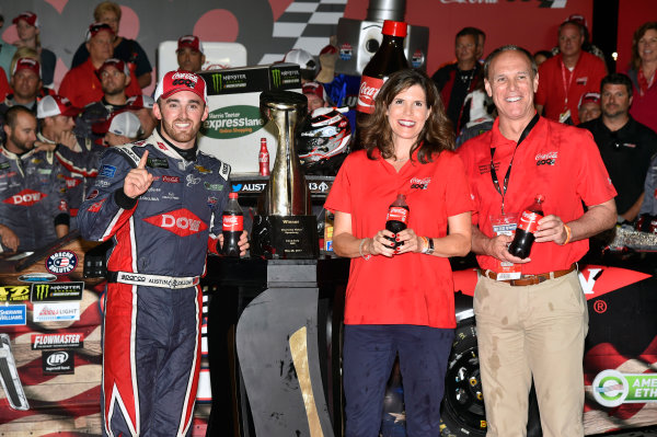 Monster Energy NASCAR Cup Series Coca-Cola 600 Charlotte Motor Speedway, Concord, NC USA Monday 29 May 2017 Austin Dillon, Richard Childress Racing, Dow Salutes Veterans Chevrolet SS celebrates his win in Victory Lane World Copyright: Nigel Kinrade LAT Images ref: Digital Image 17CLT2nk10512