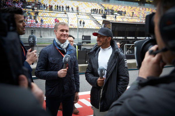 Shanghai International Circuit, Shanghai, China.  Sunday 9 April 2017. Lewis Hamilton, Mercedes AMG, 1st Position, is interviewed after the race by David Coulthard, Commentator and Presenter, Channel 4 F1. World Copyright: Steve Etherington/LAT Images ref: Digital Image SNE28655