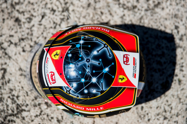2017 FIA Formula 2 Round 3. Monte Carlo, Monaco. Wednesday 24 May 2017. A one off helmet for Charles Leclerc (MCO, PREMA Racing). Photo: Zak Mauger/FIA Formula 2. ref: Digital Image _54I4785