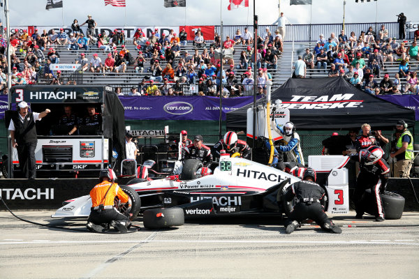 5 June, 2016, Detroit, Michigan USA Helio Castoneves Pit Stop ©2016, Maria W. Grady LAT Photo USA