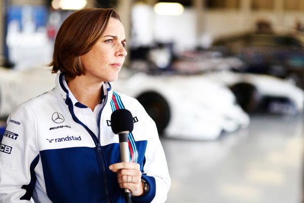 Williams 40 Event Silverstone, Northants, UK Friday 2 June 2017. Claire Williams is interviewed by the media. World Copyright: Sam Bloxham/LAT Images ref: Digital Image _J6I7164