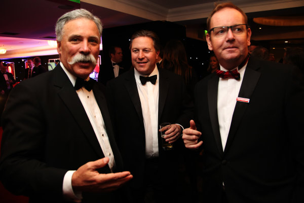 2016 Autosport Awards. Grosvenor House Hotel, Park Lane, London. Sunday 4 December 2016. Chase Carey, Zak Brown and Stuart Williams.  World Copyright: /LAT Photographic. ref: Digital Image JL3_9024