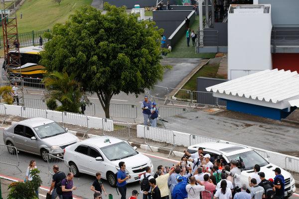 Interlagos, Sao Paulo, Brazil. Sunday 9 November 2014. Nico Rosberg, Mercedes AMG, poses for photos with fans. World Copyright: Charles Coates/LAT Photographic. ref: Digital Image _J5R5200