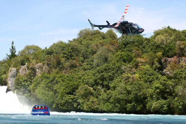 22.01 2009 Taupo, New Zealand, Helicopter A1GP Drivers - Hukafalls jet boat ride - A1GP World Cup of Motorsport 2008/09, Round 4, Taupo, Thursday - Copyright A1GP - Free for editorial usage