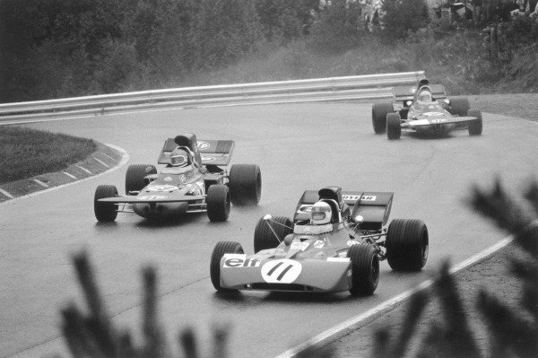1971 Canadian Grand Prix.Mopsport Park, Canada. 19 September 1971.Jackie Stewart (Tyrrell 003-Ford Cosworth, number 11), 1st position, leads Mike Beuttler and Nanni Galli (both March 711-Ford Cosworth). Ref-4057 #20.World Copyright - LAT Photographic