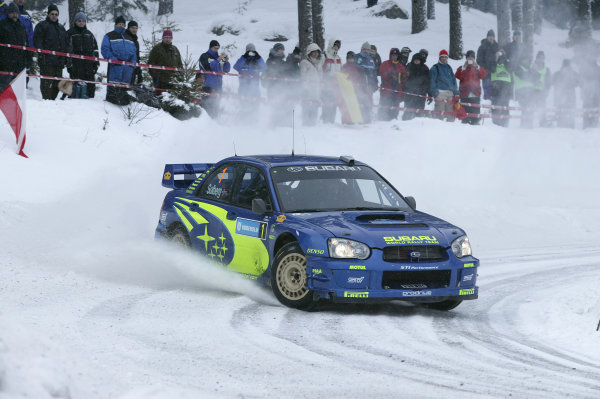 2004 FIA World Rally Champs. Round two, Swedish Rally.5th-8th February 2004.Petter Solberg, Subaru, action.World Copyright: McKlein/LAT