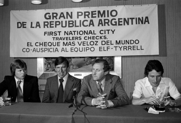 Tyrrell personnel give a press conference (L to R): Ronnie Peterson (SWE); Ken Tyrrell (GBR) Tyrrell Team Owner; Derek Gardner (GBR) Tyrrell Designer; Patrick Depailler (FRA).Argentinean Grand Prix, Rd1, Buenos Aires, Argentina, 9 January 1977.
