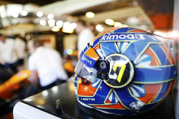 The helmet of Lando Norris, McLaren, in the team's garage.