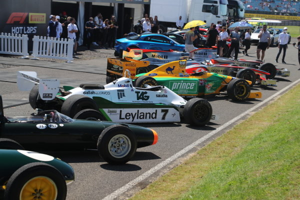 """A line-up of """"Best of British"""" racing cars, including an ERA, Lotus 16, BRM P261, Williams FW07C and Benetton B192"""