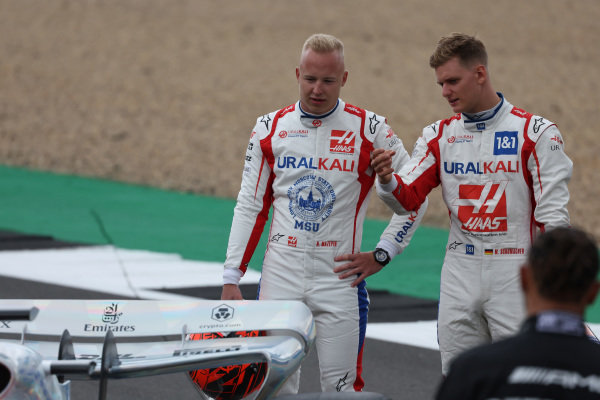Nikita Mazepin, Haas F1 and Mick Schumacher, Haas F1 at the 2022 Car Launch