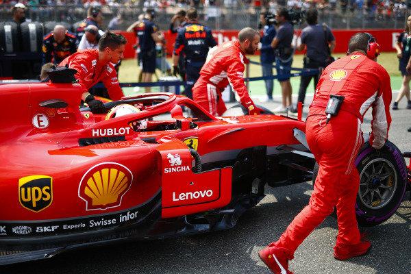 Sebastian Vettel, Ferrari SF71H, arrives on the grid.