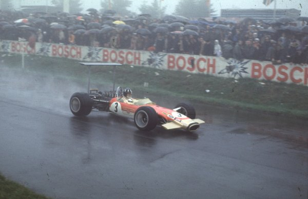 1968 German Grand Prix.Nurburgring, Germany.2-4 August 1968.Graham Hill (Lotus 49B Ford) 2nd position.Ref-68 GER 04.World Copyright - LAT Photographic