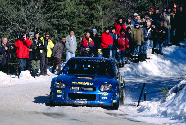2003 FIA World Rally Championship. Monte Carlo, Monaco. Rd1.23-26 January 2003.Tommi Makinen/Kaj Lindstrom (Subaru Impreza WRC '03).World Copyright: McKlein/LAT Photographicref: 35mm Image A32
