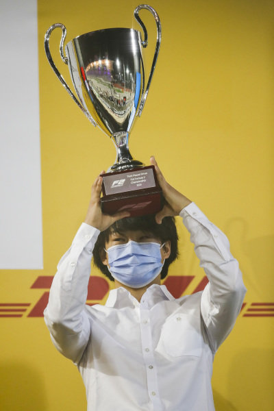 F2 Championship 3rd place Yuki Tsunoda (JPN, CARLIN) with his trophy on the podium