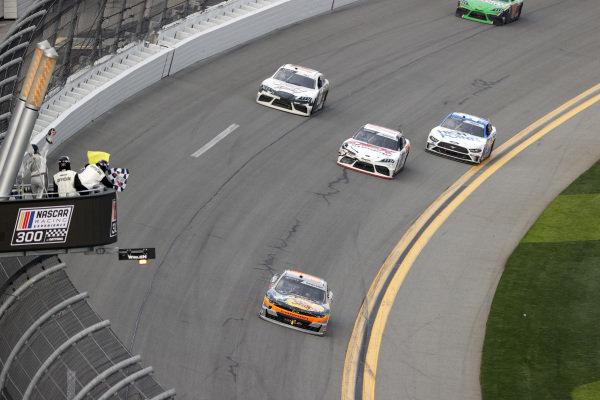 #9: Noah Gragson, JR Motorsports, Chevrolet Camaro, #20: Harrison Burton, Joe Gibbs Racing, Toyota Supra Dex Imaging, #66: Timmy Hill, Motorsports Business Management, Ford Mustang VSI Racing / RoofClaim.com, checkered flag