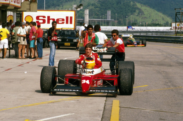 Jacarepagua, Rio de Janeiro, Brazil.24-26 March 1989.Bernd Schneider (Zakspeed 891 Yamaha). Failed to finish after collision. Ref-89 BRA 14.World Copyright - LAT Photographic
