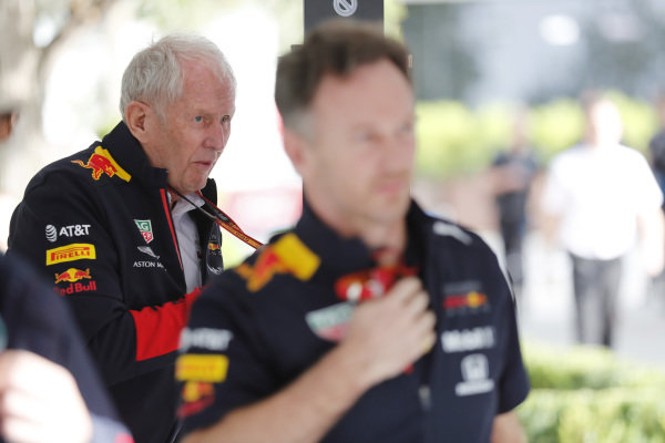 Helmut Marko, Consultant, Red Bull Racing, and Christian Horner, Team Principal, Red Bull Racing