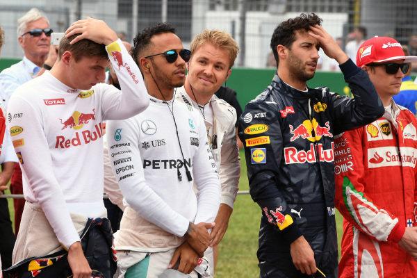 Max Verstappen (NED) Red Bull Racing, Lewis Hamilton (GBR) Mercedes AMG F1. Nico Rosberg (GER) Mercedes AMG F1 and Daniel Ricciardo (AUS) Red Bull Racing on the grid at Formula One World Championship, Rd12, German Grand Prix, Race, Hockenheim, Germany, Sunday 31 July 2016.
