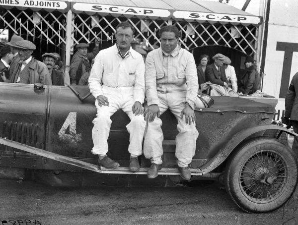 Henry Birkin and Woolf Barnato sit on the Bentley 4½ Litre Barnato shared with Bernard Rubin.