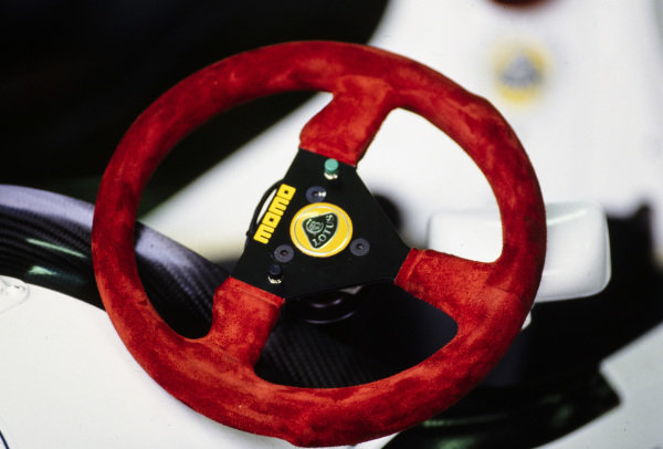 The steering wheel for one of the Lotus 102B Judds.
