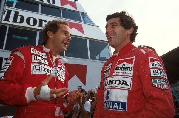 Gerhard Berger and team mate Ayrton Senna, right Portugese GP, Estoril, Potrugal, 22 September 1991