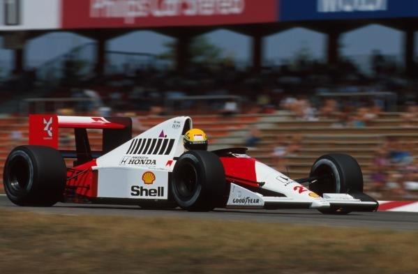 Race winner Ayrton Senna(BRA), McLaren MP4-5B German GP, Hockenheim, Germany, 29 July 1990