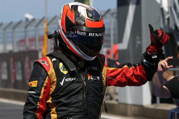 Kimi Raikkonen (FIN) Lotus celebrates in parc ferme. Formula One World Championship, Rd9, German Grand Prix, Race Day, Nurburgring, Germany, Sunday 7 July 2013.  BEST IMAGE
