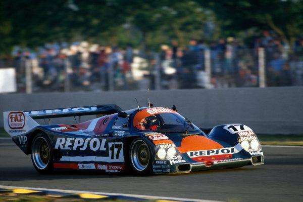 Le Mans, France. 22 - 23 June 1991.Oscar Larrauri/Jesus Pareja/Walter Brun (Porsche 962C), 10th position, action. World Copyright: LAT Photographic.Ref:  91LM28